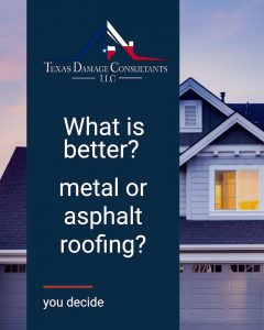 Metal roofing graphic asking question: What is better? metal or asphalt roofing?